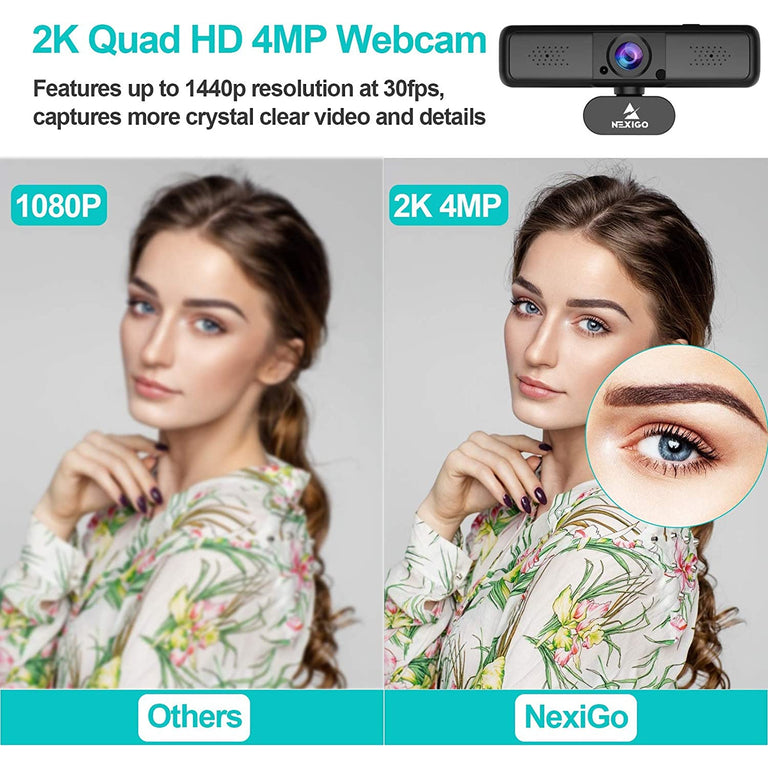 2K QHD Webcam with 3X Digital Zoom and Privacy Cover PC Mac Laptop Desktop 80 Degree Widescreen for Online Class Zoom Meeting Skype Teams 2021 NexiGo 1440P USB Streaming Web Camera