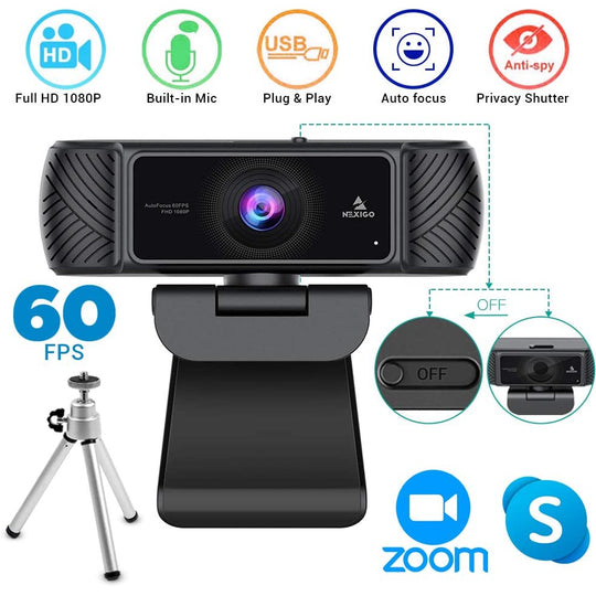 2020 1080P 60FPS Webcam with Microphone, Privacy Cover and Tripod, NexiGo Pro USB HD Computer Web Camera/Mic Video Cam for Skype Zoom Streaming Gaming Conferencing, Mac PC Laptop Desktop - NexiPC
