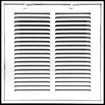 "8"" X 8 Steel Return Air Filter Grille for 1"" Filter - Fixed Hinged - ceiling Recommended - HVAC DUCT COVER - Flat Stamped Face - White [Outer Dimensions: 10.5""w X 10.5""h]"