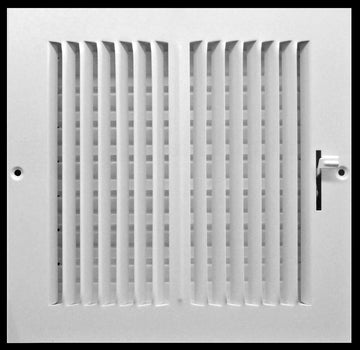"14"" X 14"" 2-Way Vertical AIR SUPPLY GRILLE - DUCT COVER & DIFFUSER - Flat Stamped Face - White [Outer Dimensions: 15.75""w X 15.75""h]"