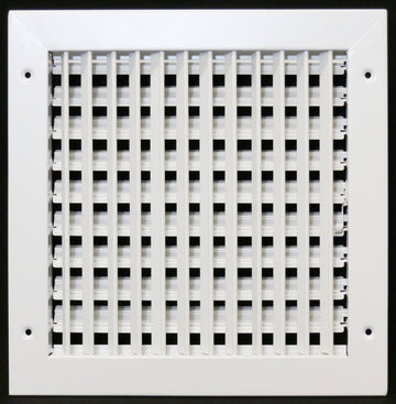 "12"" X 12"" ADJUSTABLE AIR SUPPLY DIFFUSER - HVAC Vent Duct Cover Sidewall or ceiling - Grille Register - High Airflow - White"