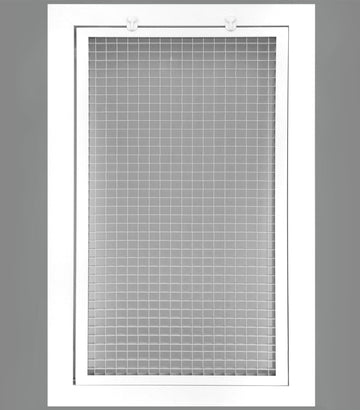 "10"" x 16"" Cube Core Eggcrate Return Air Filter Grille for 1"" Filter - Aluminum - White [Outer Dimensions: 12.5""w X 18.5""h]"