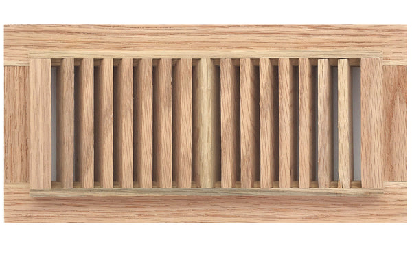 "14"" x 4"" Decorative Wood Supply Air Vent HVAC Duct Cover Grille - Polished Finish Red Oak Wood - 2-Way Air Direction - [Outer Dimensions: 16w X 6""h]"