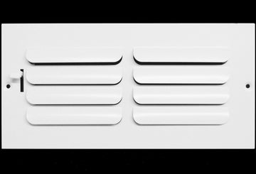 "12"" X 4"" 1-Way FIXED CURVED BLADE AIR SUPPLY DIFFUSER - Vent Duct Cover - Grille Register - Sidewall or ceiling - High Airflow - White"