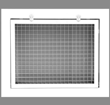 "12"" x 8"" Cube Core Eggcrate Return Air Filter Grille for 1"" Filter - Aluminum - White [Outer Dimensions: 14.5""w X 10.5""h]"