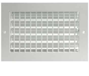 "12""w X 6""h ADJUSTABLE AIR SUPPLY DIFFUSER - HVAC Vent Duct Cover Sidewall or ceiling - Grille Register - High Airflow - White"