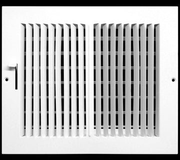 "10""w X 8""h 2-Way-Horizontal FIXED CURVED BLADE AIR SUPPLY DIFFUSER - Vent Duct Cover - Grille Register - Sidewall or ceiling - High Airflow - White"