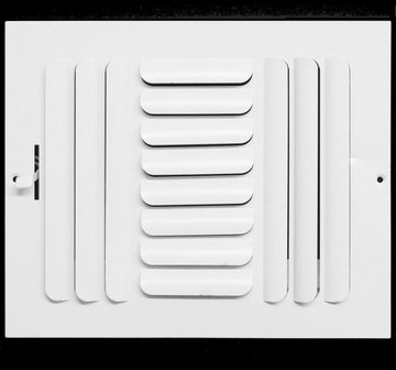 "10""w x 8""h 3-Way FIXED CURVED BLADE AIR SUPPLY DIFFUSER - Vent Duct Cover - Grille Register - Sidewall or ceiling - High Airflow - White"