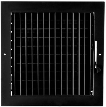 "10""w X 10""h ADJUSTABLE AIR SUPPLY DIFFUSER - HVAC Vent Duct Cover Sidewall or ceiling - Grille Register - High Airflow - Black"