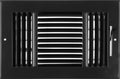 "10""w X 6""h 3-Way AIR SUPPLY GRILLE - DUCT COVER & DIFFUSER - Flat Stamped Face - Black [Outer Dimensions: 11.75""w X 7.75""h]"