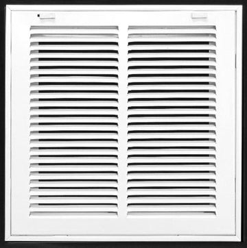"12"" X 12 Steel Return Air Filter Grille for 1"" Filter - Removable Face/Door - HVAC DUCT COVER - Flat Stamped Face - White [Outer Dimensions: 14.5""w X 14.5""h]"