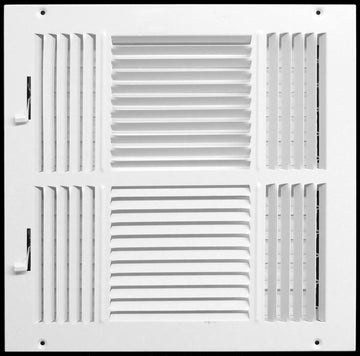 "14"" X 10"" 4-Way AIR SUPPLY GRILLE - DUCT COVER & DIFFUSER - Flat Stamped Face - White [Outer Dimensions: 15.75""w X 11.75""h]"