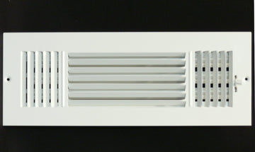 "12""w X 4""h 3-Way AIR SUPPLY GRILLE - DUCT COVER & DIFFUSER - Flat Stamped Face - White [Outer Dimensions: 13.75""w X 5.75""h]"