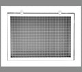 "12"" x 6"" Cube Core Eggcrate Return Air Filter Grille for 1"" Filter - Aluminum - White [Outer Dimensions: 14.5""w X 8.5""h]"