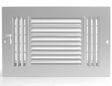 "12""w X 6""h 3-Way AIR SUPPLY GRILLE - DUCT COVER & DIFFUSER - Flat Stamped Face - White [Outer Dimensions: 13.75""w X 7.75""h]"