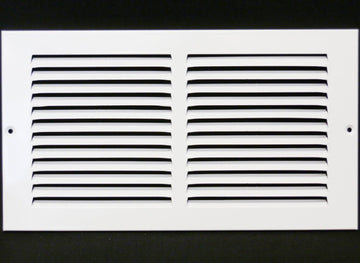"12""w X 4""h Steel Return Air Grilles - Sidewall and ceiling - HVAC DUCT COVER - White [Outer Dimensions: 13.75""w X 5.75""h]"