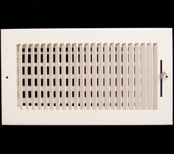 "12""w X 6""h 2-Way Vertical AIR SUPPLY GRILLE - DUCT COVER & DIFFUSER - Flat Stamped Face - White [Outer Dimensions: 13.75""w X 7.75""h]"
