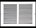 "12"" X 10"" Baseboard Return Air Grille - HVAC Vent Duct Cover - 7/8"" Margin Turnback For Flush Fit With Baseboard Work - White"