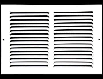 "12"" X 8"" Baseboard Return Air Grille - HVAC Vent Duct Cover - 7/8"" Margin Turnback For Flush Fit With Baseboard Work - White"