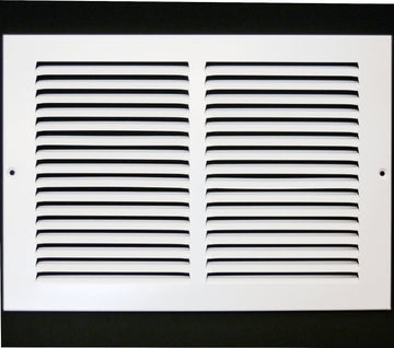 "12""w X 8""h Steel Return Air Grilles - Sidewall and ceiling - HVAC DUCT COVER - White [Outer Dimensions: 13.75""w X 9.75""h]"