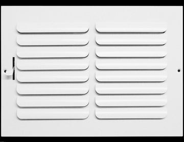 "10""w x 8""h 1-Way FIXED CURVED BLADE AIR SUPPLY DIFFUSER - Vent Duct Cover - Grille Register - Sidewall or ceiling - High Airflow - White"
