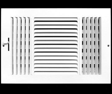 "10""w X 4""h 3-Way AIR SUPPLY GRILLE - DUCT COVER & DIFFUSER - Flat Stamped Face - White [Outer Dimensions: 11.75""w X 5.75""h]"