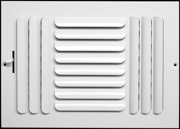 "14""w x 8""h 3-Way FIXED CURVED BLADE AIR SUPPLY DIFFUSER - Vent Duct Cover - Grille Register - Sidewall or ceiling - High Airflow - White"