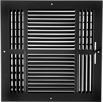 "8"" X 8"" 4-Way AIR SUPPLY GRILLE - DUCT COVER & DIFFUSER - Flat Stamped Face - Black [Outer Dimensions: 9.75""w X 5.75""h]"