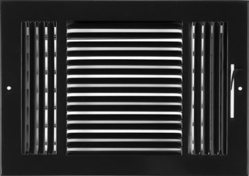 "12""w X 8""h 3-Way AIR SUPPLY GRILLE - DUCT COVER & DIFFUSER - Flat Stamped Face - Black [Outer Dimensions: 13.75""w X 9.75""h]"