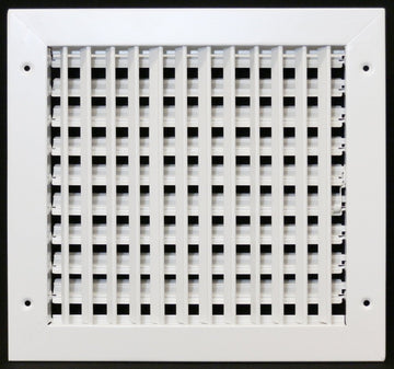 "20"" X 20"" ADJUSTABLE AIR SUPPLY DIFFUSER - HVAC Vent Duct Cover Sidewall or ceiling - Grille Register - High Airflow - White"