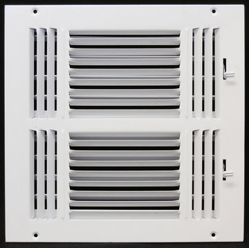 "14"" X 12"" 3-Way AIR SUPPLY GRILLE - DUCT COVER & DIFFUSER - Flat Stamped Face - White [Outer Dimensions: 15.75""w X 13.75""h]"
