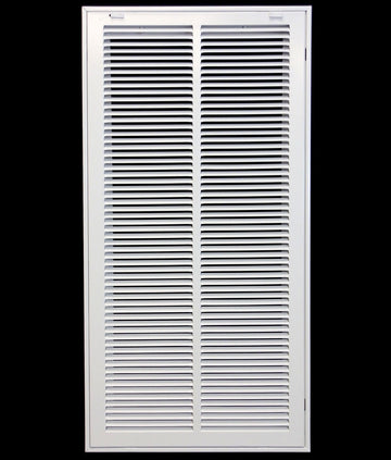 "14"" X 30 Steel Return Air Filter Grille for 1"" Filter - Removable Face/Door - HVAC DUCT COVER - Flat Stamped Face - White [Outer Dimensions: 16.5""w X 32.5""h]"
