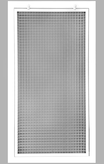 "14"" x 30"" Cube Core Eggcrate Return Air Filter Grille for 1"" Filter - Aluminum - White [Outer Dimensions: 16.5""w X 32.5""h]"