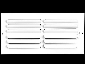 "12"" X 4"" 2-Way-Horizontal FIXED CURVED BLADE AIR SUPPLY DIFFUSER - Vent Duct Cover - Grille Register - Sidewall or ceiling - High Airflow - White"