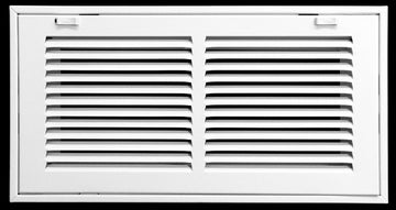 "14"" X 6 Steel Return Air Filter Grille for 1"" Filter - Removable Face/Door - HVAC DUCT COVER - Flat Stamped Face - White [Outer Dimensions: 16.5""w X 8.5""h]"