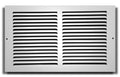 "14"" X 8"" Baseboard Return Air Grille - HVAC Vent Duct Cover - 7/8"" Margin Turnback For Flush Fit With Baseboard Work - White"