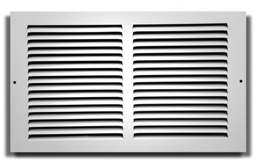"14"" X 14"" Baseboard Return Air Grille - HVAC Vent Duct Cover - 7/8"" Margin Turnback For Flush Fit With Baseboard Work - White"