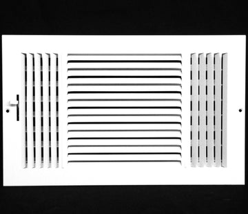 "12""w X 8""h 3-Way AIR SUPPLY GRILLE - DUCT COVER & DIFFUSER - Flat Stamped Face - White [Outer Dimensions: 13.75""w X 9.75""h]"