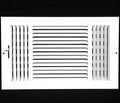 "10""w X 6""h 3-Way AIR SUPPLY GRILLE - DUCT COVER & DIFFUSER - Flat Stamped Face - White [Outer Dimensions: 11.75""w X 7.75""h]"
