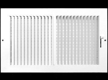 "20"" X 12"" 2-Way Vertical AIR SUPPLY GRILLE - DUCT COVER & DIFFUSER - Flat Stamped Face - White [Outer Dimensions: 21.75""w X 13.75""h]"
