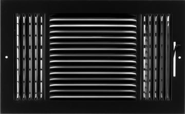 "14""w X 8""h 3-Way AIR SUPPLY GRILLE - DUCT COVER & DIFFUSER - Flat Stamped Face - Black [Outer Dimensions: 15.75""w X 9.75""h]"