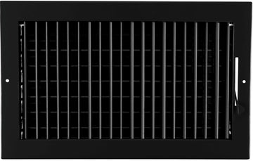 "14""w X 8""h ADJUSTABLE AIR SUPPLY DIFFUSER - HVAC Vent Duct Cover Sidewall or ceiling - Grille Register - High Airflow - Black"