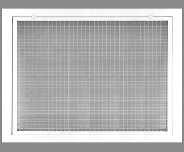 "18"" x 14"" Cube Core Eggcrate Return Air Filter Grille for 1"" Filter - Aluminum - White [Outer Dimensions: 20.5""w X 16.5""h]"