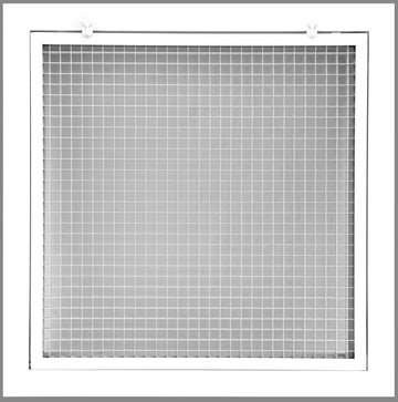 "24"" x 24"" Cube Core Eggcrate Return Air Filter Grille for 1"" Filter - Aluminum - White [Outer Dimensions: 26.5""w X 26.5""h]"