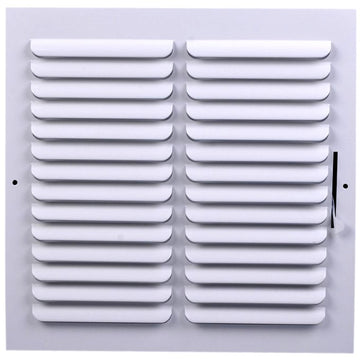 "6"" X 6"" 1-Way FIXED CURVED BLADE AIR SUPPLY DIFFUSER - Vent Duct Cover - Grille Register - Sidewall or ceiling - High Airflow - White"