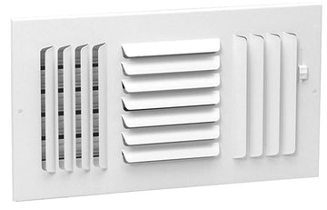 "6""w x 6""h 3-Way FIXED CURVED BLADE AIR SUPPLY DIFFUSER - Vent Duct Cover - Grille Register - Sidewall or ceiling - High Airflow - White"