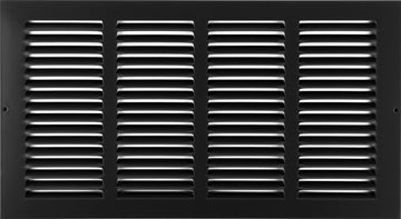 "14"" X 8"" Steel Return Air Grilles - Sidewall and ceiling - HVAC DUCT COVER - Black [Outer Dimensions: 15.75""w X 9.75""h]"