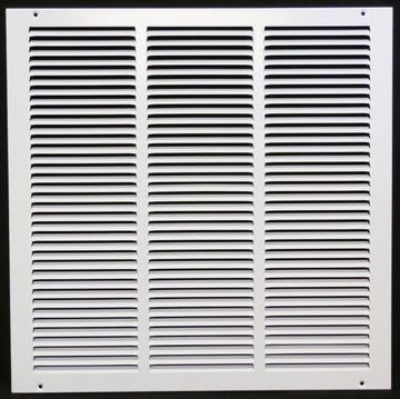 "25"" x 6"" Return Air Grille - Sidewall and ceiling - HVAC Vent Duct Cover Diffuser - [White] [Outer Dimensions: 26.75w X 7.75""h]"