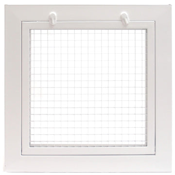 "10"" x 10"" Cube Core Eggcrate Return Air Filter Grille for 1"" Filter - Aluminum - White [Outer Dimensions: 12.5""w X 12.5""h]"