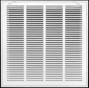 "24"" x 10"" Return Air Filter Grille * Filter Included * - Removable Face/Door - HVAC VENT DUCT COVER - White [Outer Dimensions: 26w X 12""h]"
